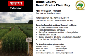 Cover photo for Union County Small Grains Field Day