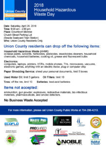 Cover photo for Union County's 2018 Household Hazardous Waste Day