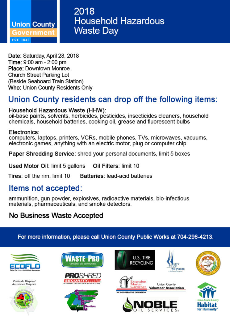 Union County Household Hazardous Waste Day poster