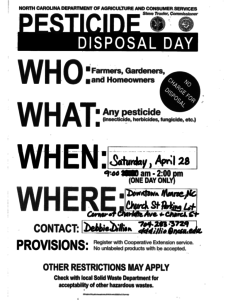 Cover photo for Pesticide Disposal