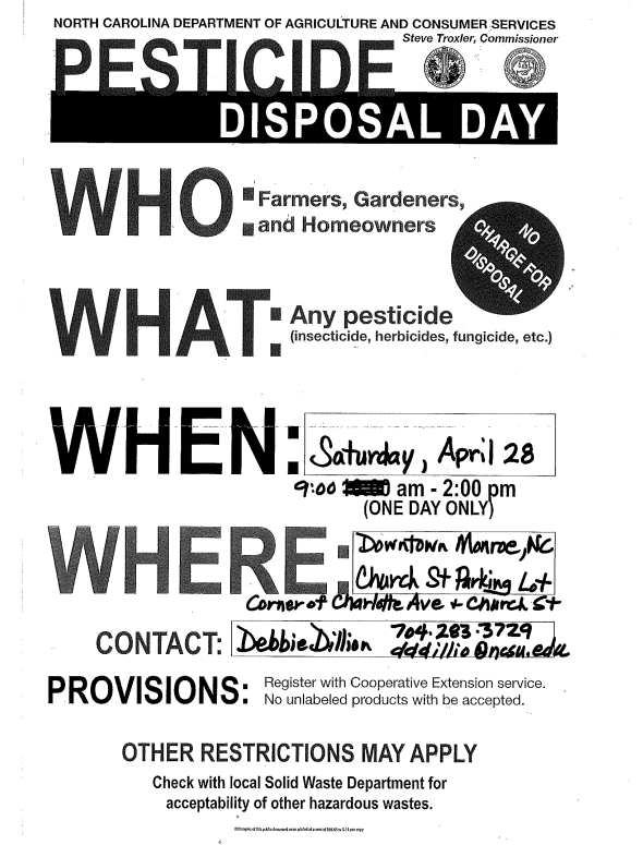 Pesticide Disposal Day flyer image