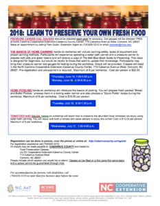 Cabarrus County Food Preservation Workshop