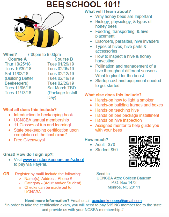 Bee School 101 flyer image