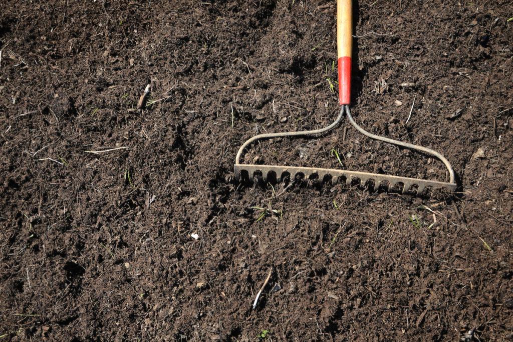 Garden Soil with Rake
