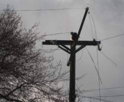 broken power lines on a power pole