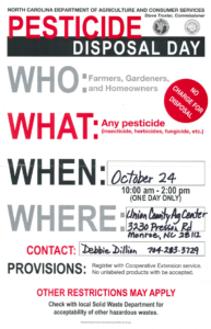 Union County Pesticide Disposal Day October 24th