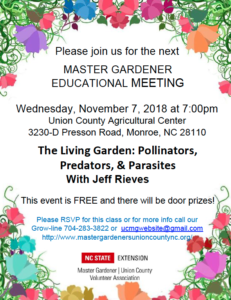 Nov 7th Master Gardener Educational Meeting