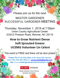 Master Gardeners November 1st meeting