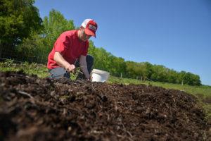 Man working soil