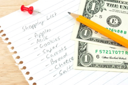 shopping list, pencil & money