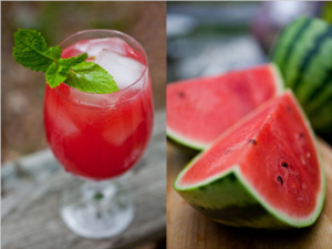 watermelon sliced and watermelon drink in glass