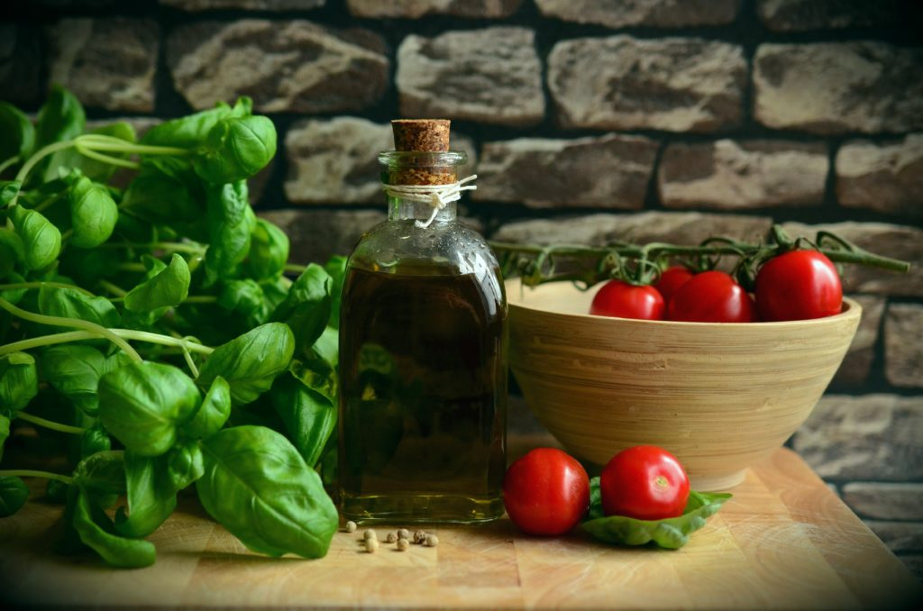 Mediterranean Foods, Tomatoes, Basil, and Olive Oil