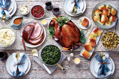table set with holiday meal