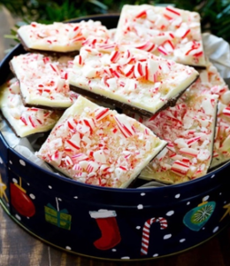 tin filled with peppermint white chocolate candy