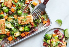 tofu and brussel sprouts recipe in pan