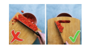 Photos of cutting board and chopped veggies