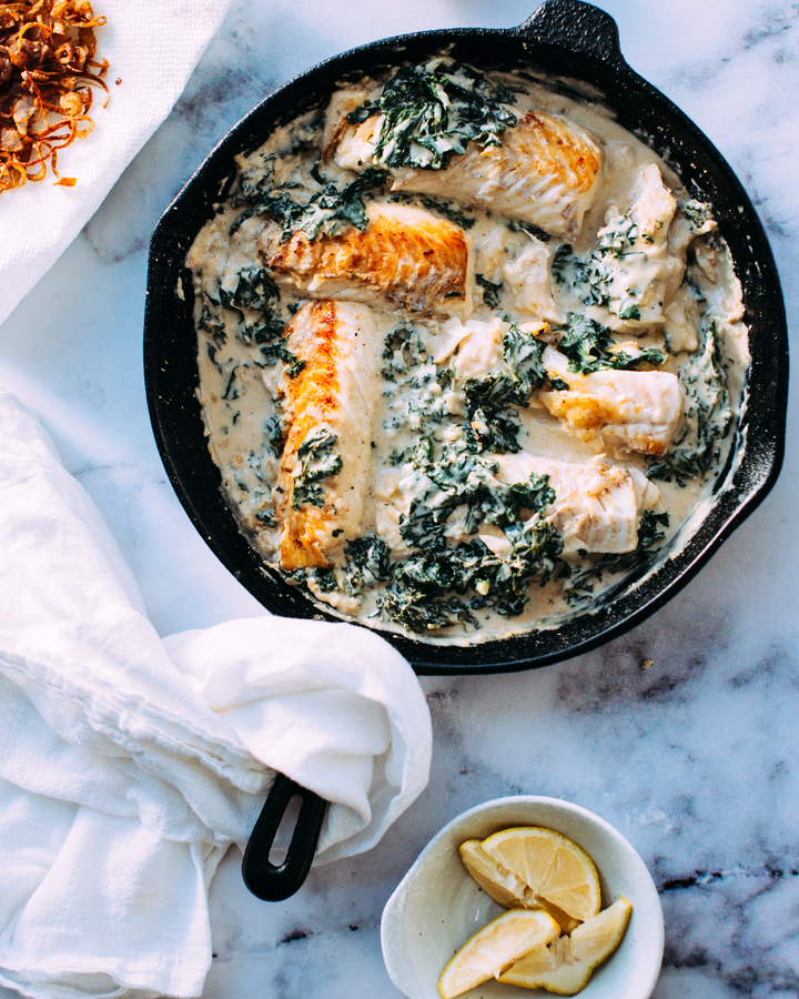 Cast Iron Skillet with Salmon and Vegetables