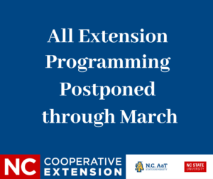 Notice image - Extension programs postponed through March 2020