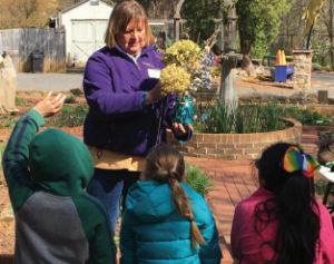 volunteer teaching students about plants