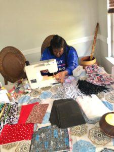 Jasmine Wilson sewing face masks