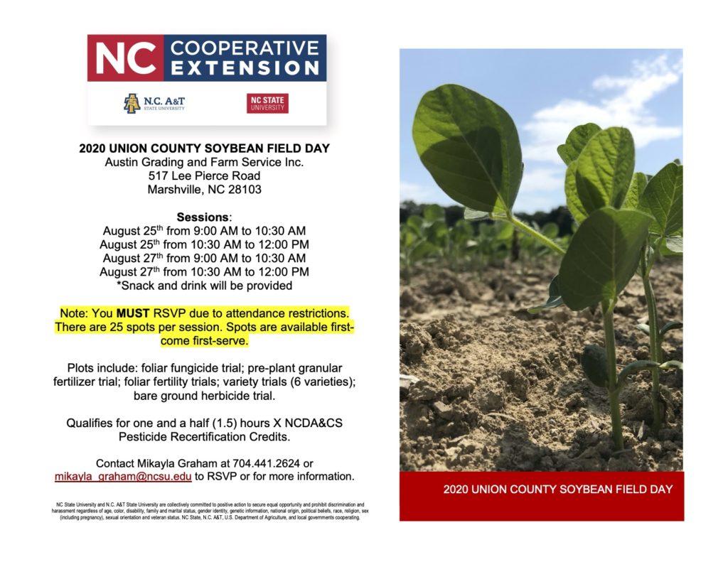 2020 Union County Soybean Field Day flyer