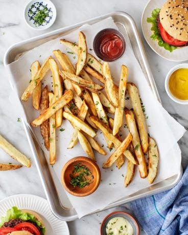 Julienne fries on plate