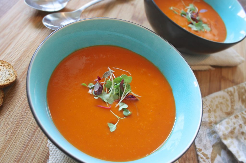Soup in a bowl with garnish