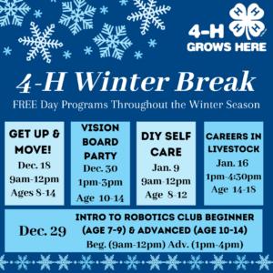 4-H Winter Break Schedule