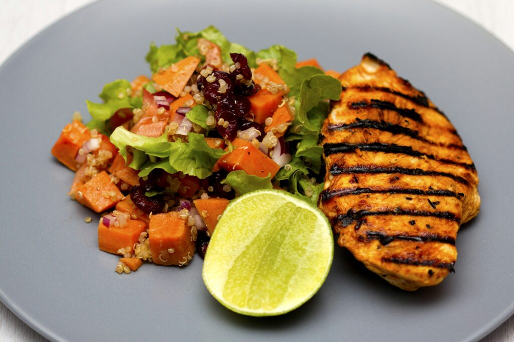 Healthy Dish of Grilled Chicken and Salad