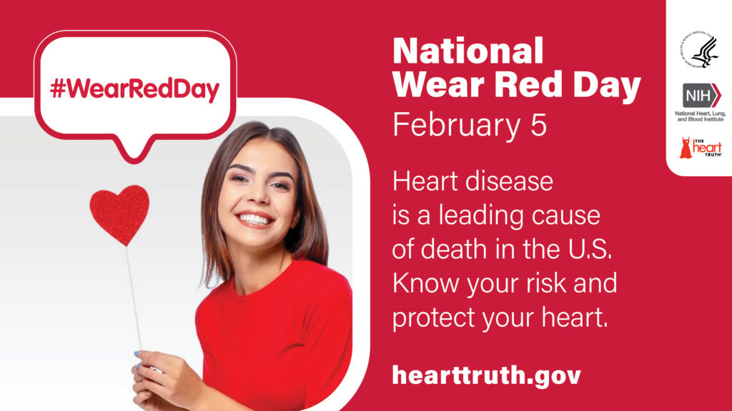 Lady with a Heart Wearing Red for National Wear Red Day