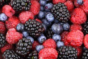 Blueberries, Raspberries and Blackberries in a Pile.