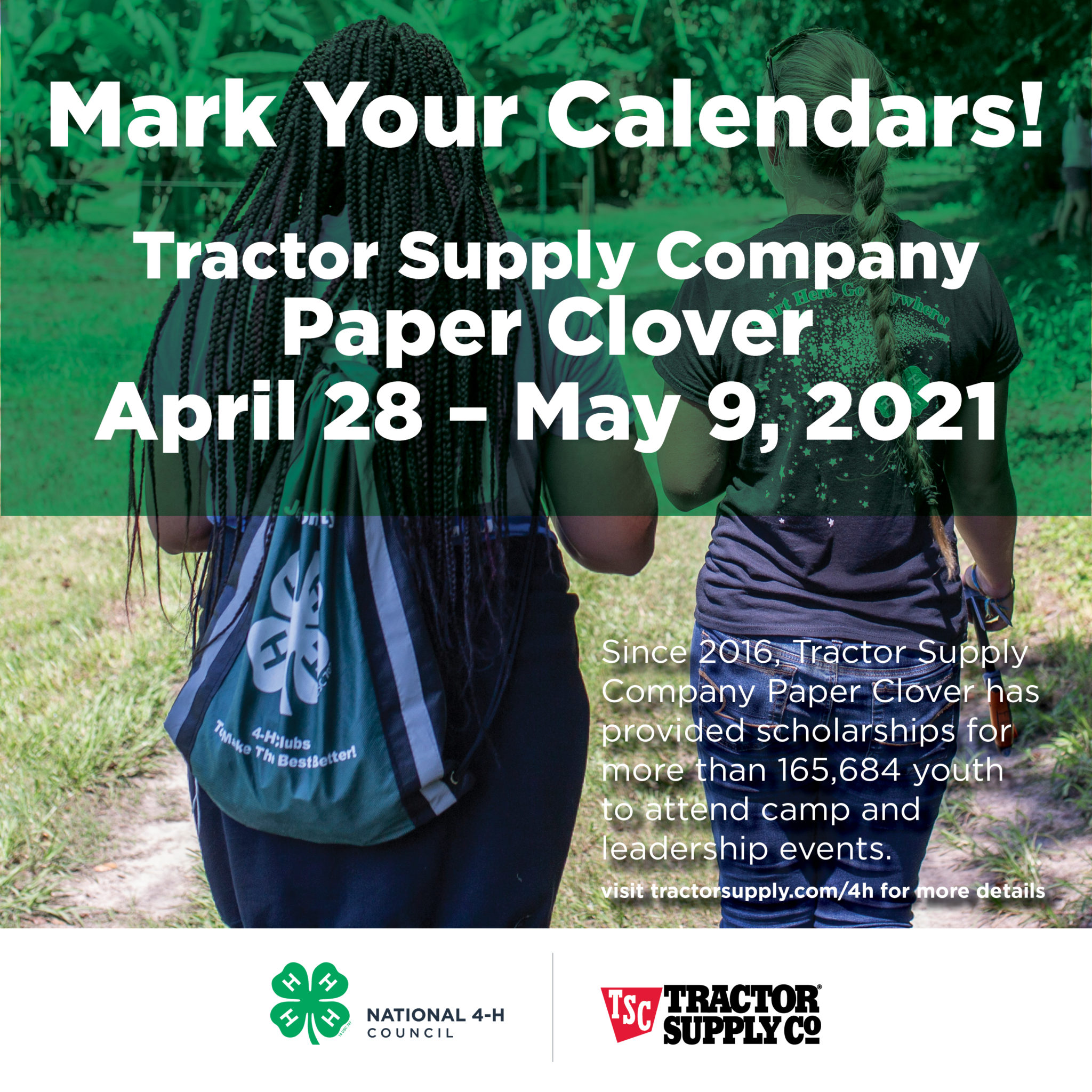 TSC Mark your clover ad with background image of two kids walking with backpacks on