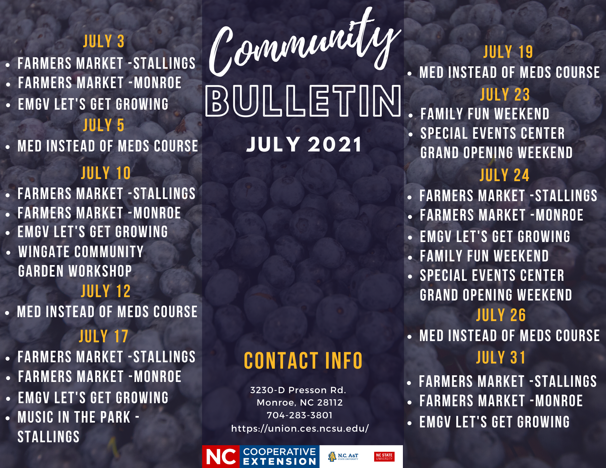 Bulletin with Events for the month of July