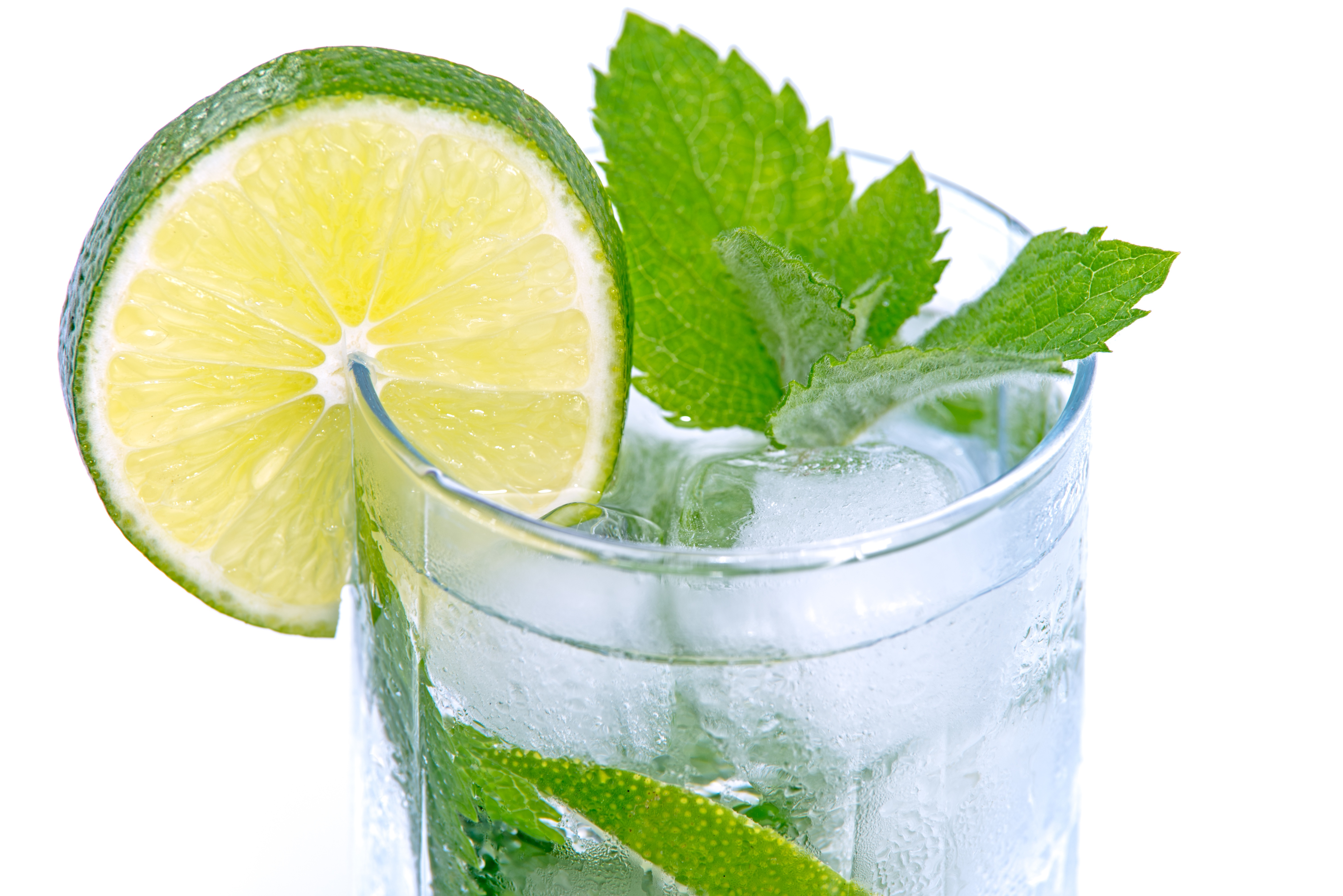 Water with Lime and Mint in it for Hydration