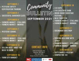 Bulletin Events for September 2021
